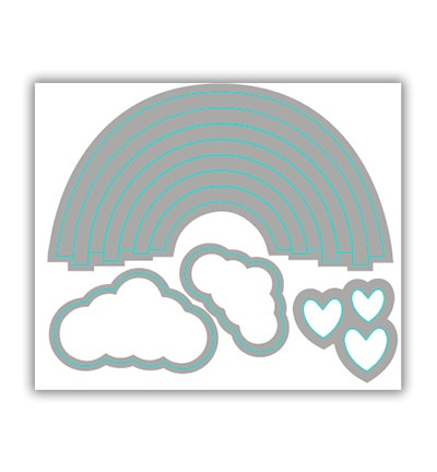 Pure & Simple Stanzform Regenbogen u. Wolken / Rainbow Love PS-CUT-1001