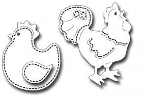 Frantic Stampers Stanzform Hahn u. Henne mit Nähnaht / Stitched Poultry FRA-DIE-09981