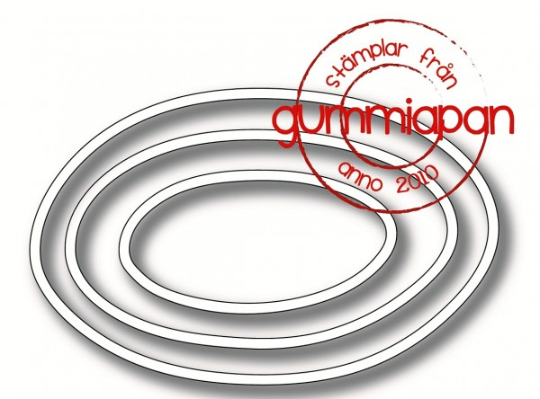 Gummiapan Stanzform Rahmen oval / Hand-Drawn Ovals D190334