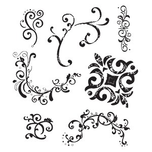Sizzix Clear Stamps Florales u. Wirbel / Flourishes & Swirls 656057