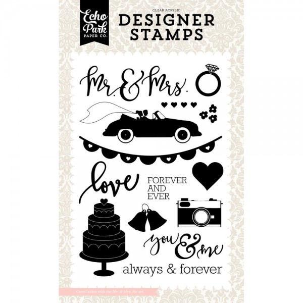 Echo Park Paper Clear Stempelset Hochzeitsauto,-torte u. Kamera / Wedding Bliss Mr. & Mrs. WB129046