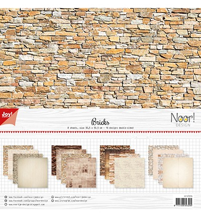 JoyCrafts Scrapbook-Papier-Set 30,5 x 30,5 cm Steine / Bricks 6011/0576