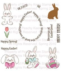 Peachy Keen Clear Stamps Easter Egg Words & Bunnies PK-264