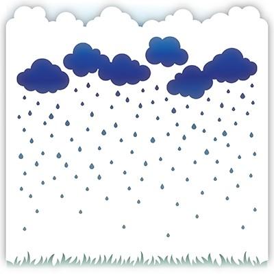 Little Darlings Stencil Wolken u. Regentropfen / Rainy Day 3158