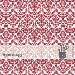 Folie transparent mit rotem geflocktem floralemMuster 30,5 x 30,