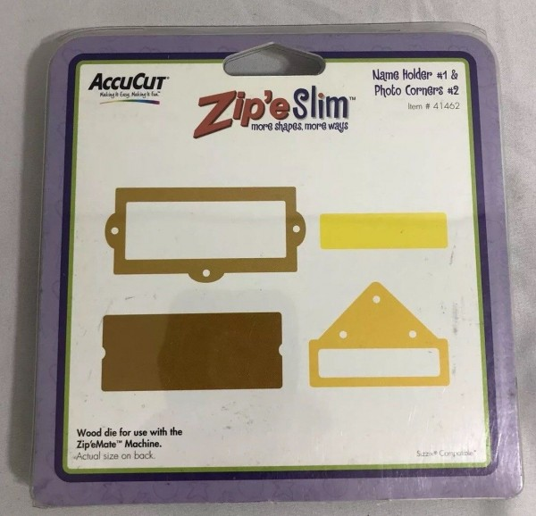 AccuCut Zip'e Slim Stanzform Namensschild # 1 & Fotohalter # 2 / Name Holder # 1 & Photo Corners # 2