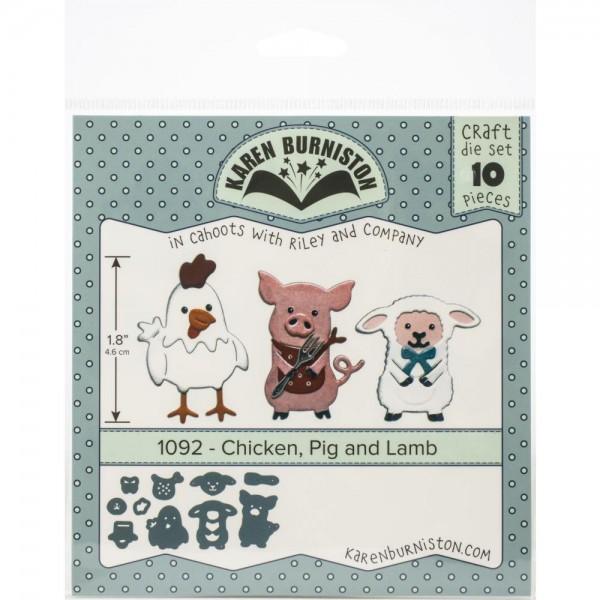 Karen Burniston Stanzform Huhn, Schwein u. Schaf / Chicken, Pig & Lamb 1092