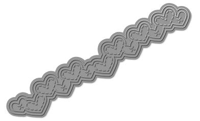 WPlus9Design Stanzform Border Herzen gestickt / Stitched Heart Border WP9D-118
