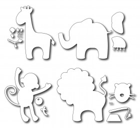 Frantic Stamper Stanzform-Set Giraffe, Elefant, Affe u. Löwe / Baby Animals FRA-DIE-09204