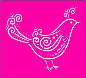 Nellie Snellen Metall-Prägeschablone Vogel LD006 ( pink )