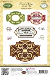 JustRite Cling Stempel-Set Friends Antique Labels One CL-03940