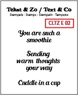 Crealies Clear Stempel ' You are such a smoothie, Sending warm thoughts your way, cuddle in a cup '