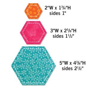 Stanzform Go ! Hexagons Seiten 2,5 + 3,8 + 6,4 cm 55011
