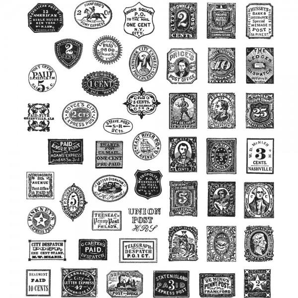 Tim Holtz Cling Stempel Briefmarken / Stamp Collector CMS338