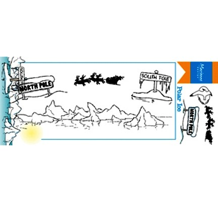 Marianne D Clear Stempel-Set Berge , Nikolaus in Schlitten u. Rentiere / Hetty's Polar Ice HT1629