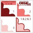 Crealies Ecke # 8 / creative corners # 8 (rot ) CLCC-08