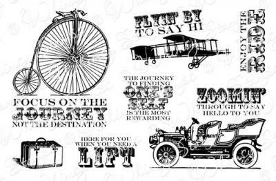 Whimsy Stamps Cling-Stempelplatte Vintage Transportation 10040