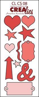 Crealies Stanzf.Creative Shapes #8 Herz,Pfeil,Sterin CLCS-08 (ro