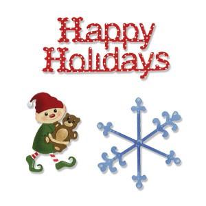 Sizzix Stanzform Sizzlits MEDIUM 3-er Happy Holiday Set 656267