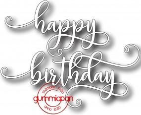 Gummiapan Stanzform Wort ' happy birthday ' D170736