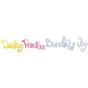 """Border Worte """" Darling, Precious, Bundle of Joy """" 655 334"""