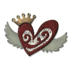 Sizzix Stanzform BIGZ Herz, Flügel u. Krone / Heart Wings 656638