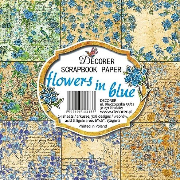 "Decorer Paper Pack 6 "" x 6 "" FLOWERS IN BLUE C10-213"