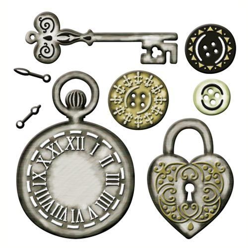 Spellbinders Stanzform Taschenuhr, Schlüssel,Schloß und Knöpfe /Timeless Heritage S4-014