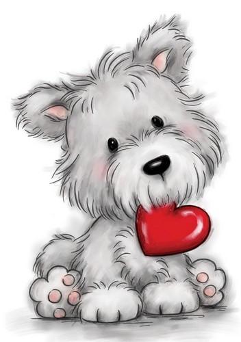 Wild Rose Studio Clear Stempel Hund mit Herz / Dog With Heart CL503