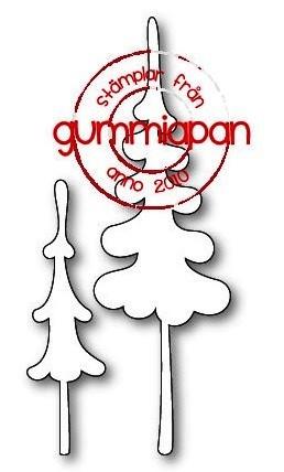Gummiapan Stanzform Tannen / Fluffiga Granar D180909