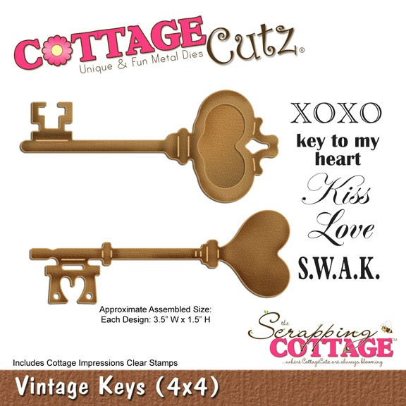 Vintage Schlüssel mit 5 Clear Stamps/vintage keys SC CC4x4-313