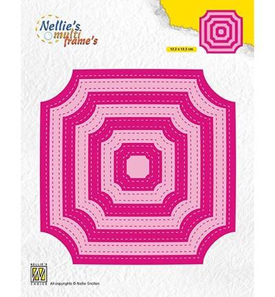 Nellie Stanzform Quadrate ohne Ecken mit Nähnaht innen u. außen/Stitched Cornerless Squares MFD130