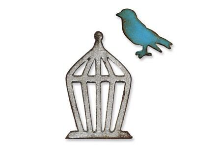 Sizzix Einsatz-Stanzform Movers & Shapers Vogel u. Käfig / Mini Bird & Cage 657207