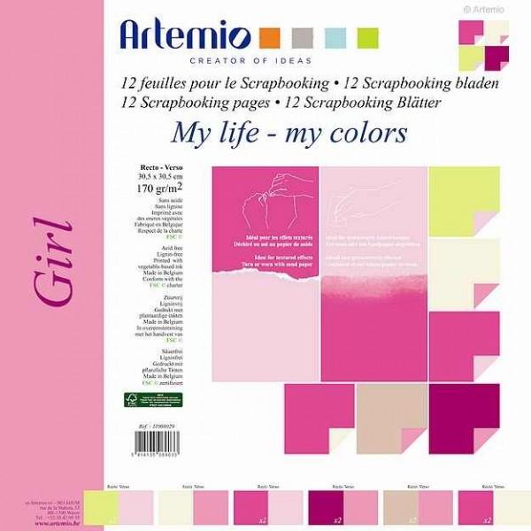 Papier-Set zwei-farbig 30,5 x 30,5 cm Nature 11008029 ( 12 Blatt