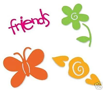 Sizzix Stanzform Sizzlits SMALL 4-er Set Friends, Flowers & Butterfly Set 38-9693