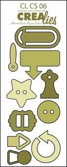 Crealies Stanzf.reative Shapes # 6 Knöpfe & Clips CLCS-06(olive-
