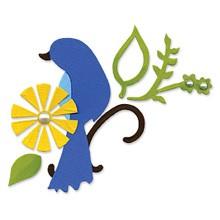Sizzix Stanzform BIGZ Vogel mit Blättern u. Blume / bird w/leaves & flower 655211