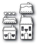 Memorybox Stanzform Häuser mit Herzchen / Stitched Heart Village 99918