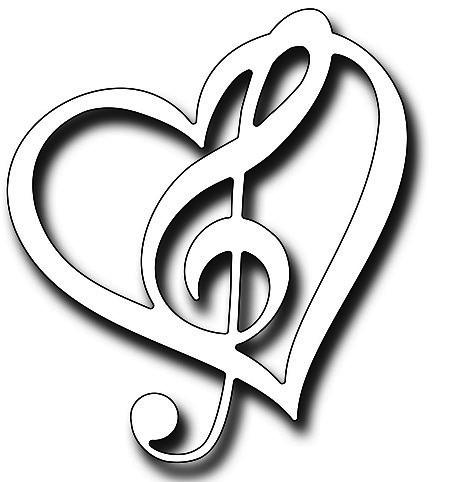 Frantic Stampers Stanzform Herz mit Musiknotenschlüssel / Musical Heart FRA-DIE-10354