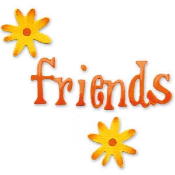 """Sizzix Stanzform Sizzlits SMALL 1-er Wort """" Friends """" u. Blumen / phrase friends & daisies 654345"""