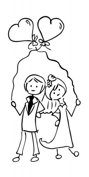 cArt-Us Stempel Hochzeitspaar mit Herz-Luftballons/Glück zu Zwei
