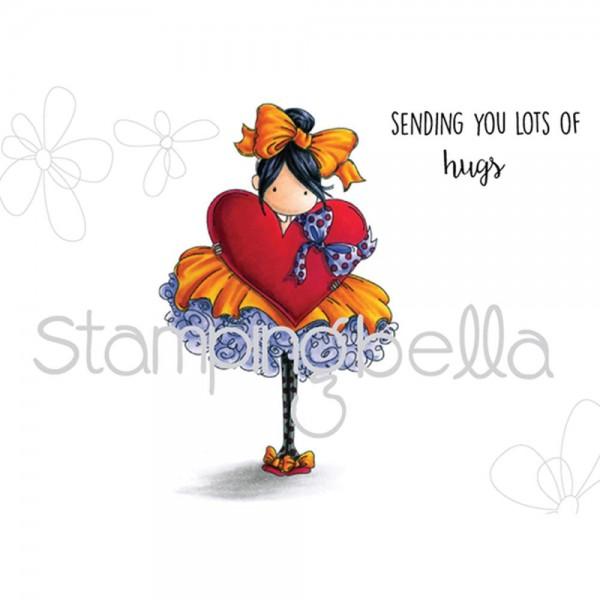 Stampingbella Cling Stempel Mädchen mit Tüll-Kleid u. Herz / Tiny Townie Bonnie Loves Bows EB365