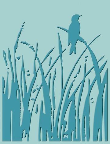 Cuttlebug Prägefolder Vogel im Schilf / bird call 37-1169