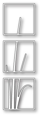 Poppystamps Stanzform Stengel in 3 quadratischen Rahmen / Stem Triptych 1524