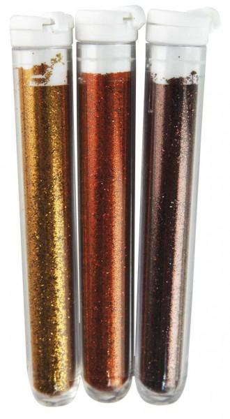 Feinflitter Braun-Gold Töne in Glasröhrchen 39-401-00