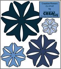 Crealies Creative Flowers # 7 ( dunkel-blau ) CLCF-07