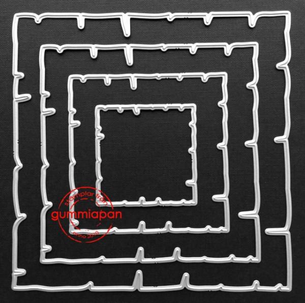 Gummiapan Stanzform Papier quadratisch gezackt / Old Paper D160933