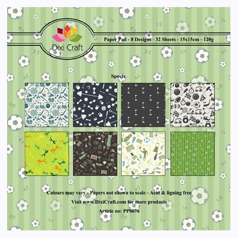 Dixi Craft Paperpad 15 cm x 15 cm Sport / Sports Green PP0076