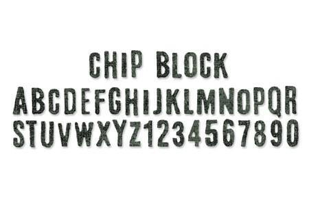 Sizzix Stanzform Sizzlits Border Alphabet Chip Block 656917