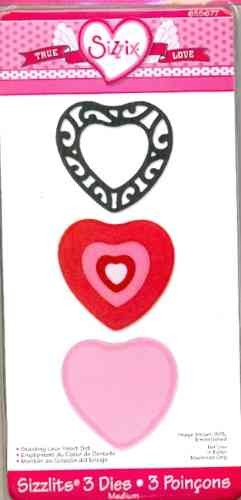 Sizzlits medium 3-er Set Herzen/stacking lace heart set 655 677